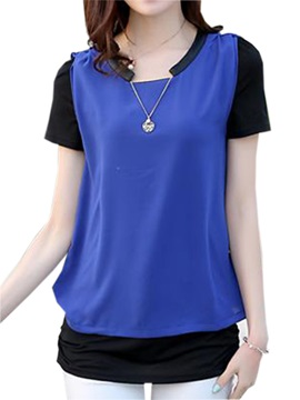 Chic Collar Double Layer Slim T Shirt