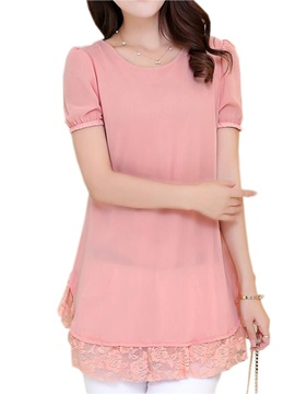 Stylish Lace Hem Chiffon Blouse