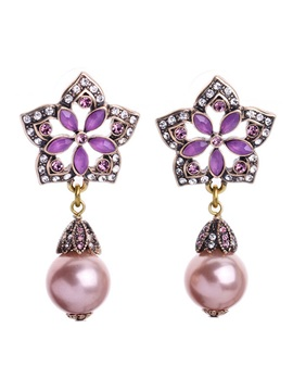Elegant Flowers And Pearl Pendant Women Earrings