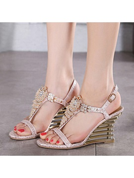 Rhinestone Sequins Wedge Sandals