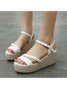 Pu Crochet Buckle Wedge Sandals