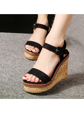 Suede Buckle Open Toe Wedge Sandals