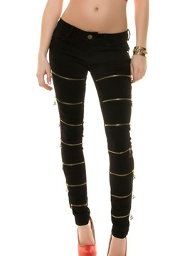 Delicate Zipper Decorated Skinny Pencil Jean