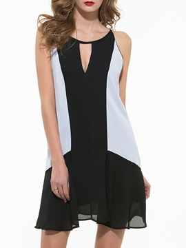 Contrast Hollow Round Neck Sleeveless Shift Dress
