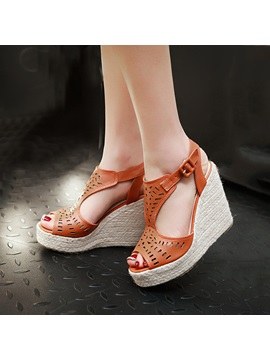 Pu Hollow Peep Toe Wedge Sandals
