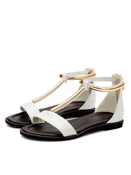 Simple Style T Strap Back Zip Flat Sandals