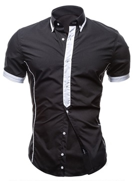 Color Block Single Breasted Mens Short Sleeve Shirt