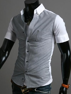 Patchwork Cotton Blends Mens Short Sleeve Shirt