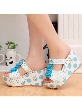 Studded Polk Dots Slip On Wedge Sandals