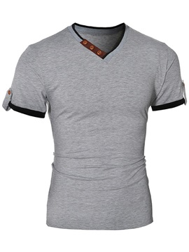 Color Block Casual Mens V Neck Tee