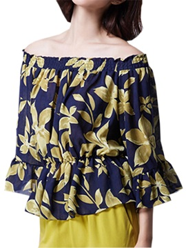 Ladylike Pattern Off Shoulder Blouse