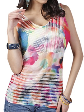 Special Color Block Slim Tank Top