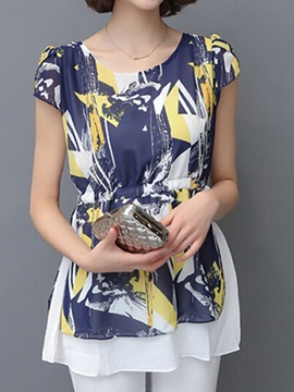 Stylish Pattern Slim Chiffon Blouse