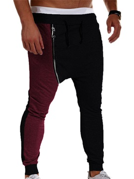Patchwork Zipper Mens Sports Casual Pants