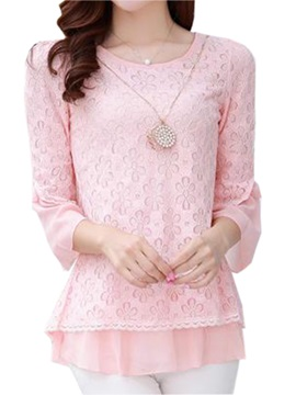 Stylish Sleeves Chiffon Hem Blouse