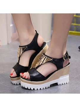 Sequins Peep Toe Buckle Wedge Sandals