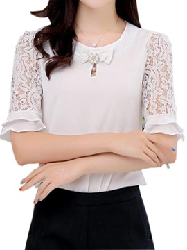 Stylish Lace Short Sleeves Slim Blouse