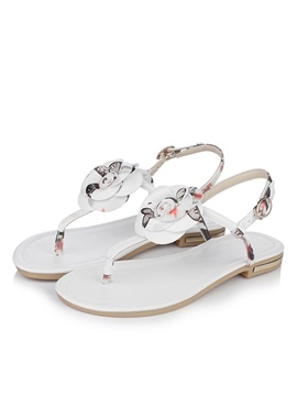 Printed Pu Applique Thong Flat Sandals