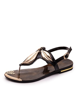 Simple Style Metallic Thong Flat Sandals
