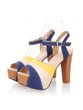 Striped Chunky Heel Peep Toe Sandals