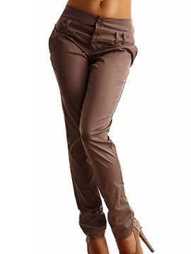 Three Button Designed Skinny Haren Pant