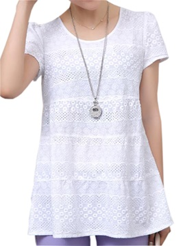 Stylish Hollow Fabric Slim T Shirt
