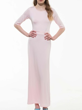 Plain Half Sleeve Slim Expansion Maxi Dress