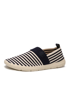 Striped Round Toe Slip On Loafers