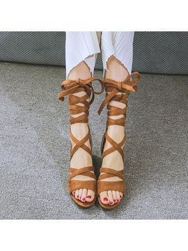Suede Chunky Heel Lace Up Roman Sandals