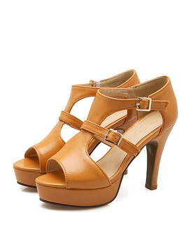 Pu Peep Toe Side Platform Sandals