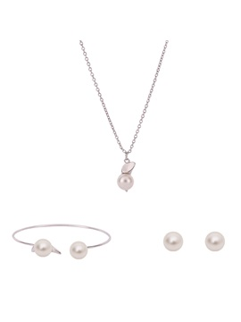 E Plating Pearl Pendant Jewelry Set