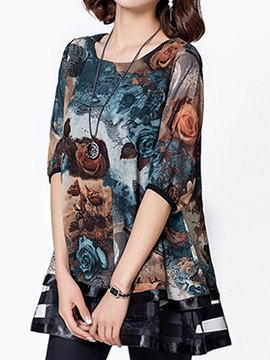 Special Floral Printed Double Layer Hem Blouse