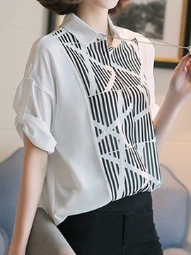 Special Stripe Pattern Roll Up Sleeves Shirt