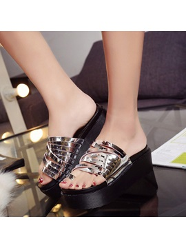 Metallic Pu Ring Toe Wedge Sandals