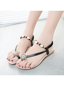 Beaded Ring Toe Beach Sandals
