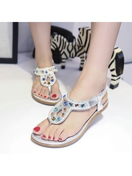 Rhinestone Elastic Band Beach Sandals