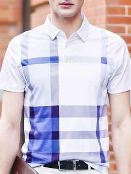 Stripe Turn Down Collar Mens Polo