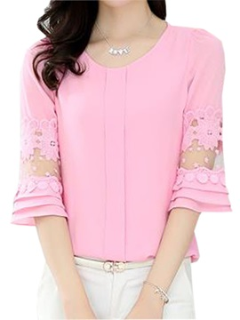 See Through Lace Decoration Sleeves Blouse