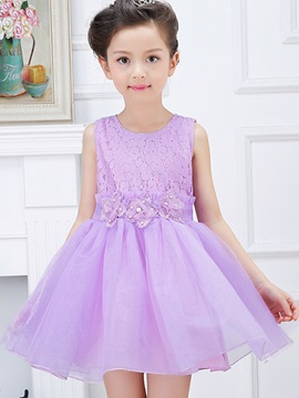 Flower Decorated Lace Crochet Girls Dress