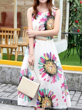 Floral Print Sleeveless Knee Length Day Dress