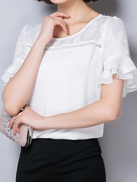 Double Layer Cuff Lace Collar Blouse