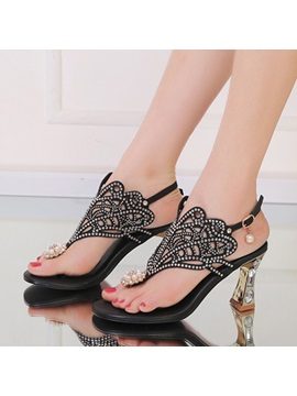 Rhinestone Cut Out Strange Heel Sandals