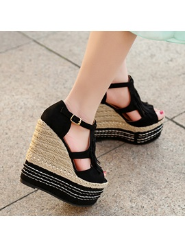 Pu Tassels Peep Toe Wedge Sandals