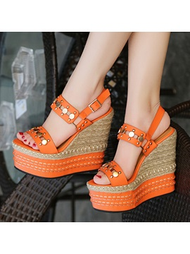 Pu Sequins Crochet Wedge Sandals