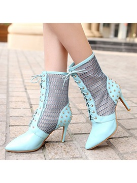 Rivets Mesh Patchwork Lace Up Booties