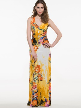 Floral Print V Sleeveless Ruffled Maxi Dress