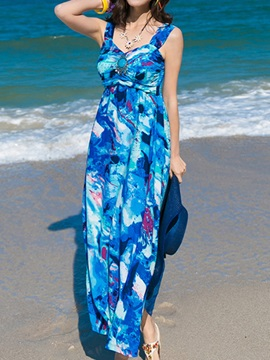 Floral Print V Sleeveless Slim Maxi Dress