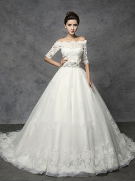 Modest Off The Shoulder Lace Wedding Dress With Sleeves