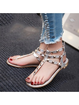Pu Rivets Thong Flat Sandals Plus Size Avilable