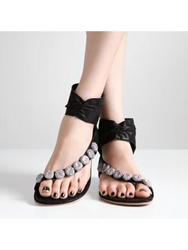 Beaded Ring Toe Back Zip Flat Sandals
